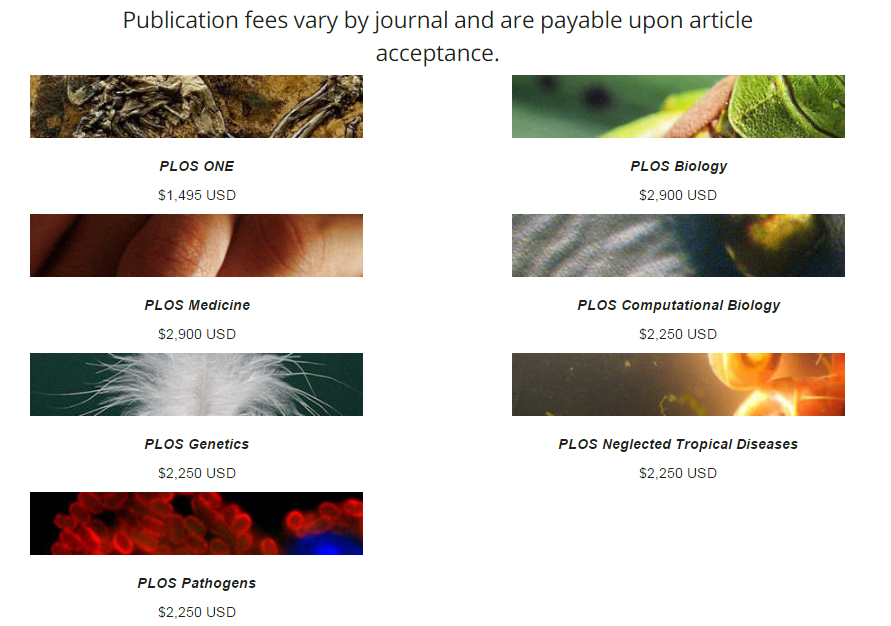 Tarifas de las revistas de la editorial PLOS.